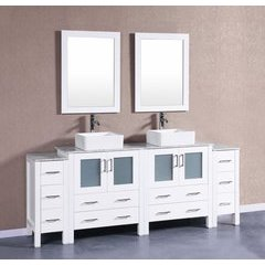 "84"" AW230CBECM2S Single Vanity w/ White Carrara Top-White"