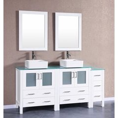 "72"" AW230CBECWG1S Double Vanity w/ Tempered Glass Top-White"