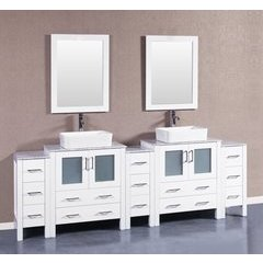 "96"" AW230RCCM3S Double Vanity w/ White Carrara Top-White"