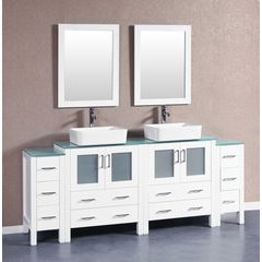 "84"" AW230RCCWG2S Double Vanity w/ Tempered Glass Top-White"