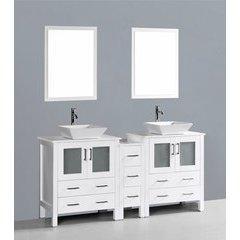 """72"""" AW230S1S Double Vanity w/ Pheonix Stone Top-White"""