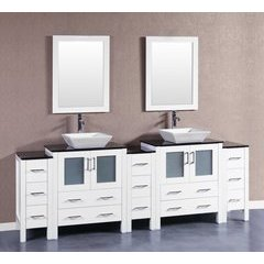 "96"" AW230SQBG3S Double Vanity w/ Tempered Glass Top-White"