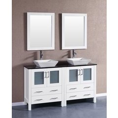 "60"" AW230SQBG Double Vanity w/ Tempered Glass Top-White"