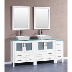 "72"" AW230SQCWG1S Double Vanity w/ Tempered Glass Top-White"