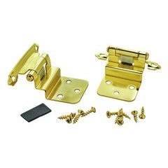 3/8 Inch Inset Hinge 1-1/16 Inch Projection - Polished Brass - Pair