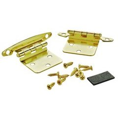 Variable Overlay Hinge 1-3/4 Inch Width - Polished Brass - Pair