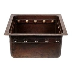 16 Inch Rectangular Undermount Bar/Prep Sink with Barrel Strap Design- Bronze