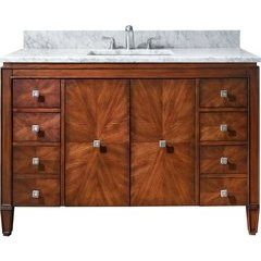 "49"" Brentwood Single Vanity - Carrera White Marble Top"