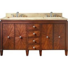 "61"" Brentwood Double Vanity - Galala Beige Marble Top"