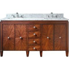 """61"""" Brentwood Double Vanity - Carrera White Marble Top"""