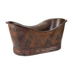 67 Inch Copper Double Slipper Bathtub - Oil Rubbed Bronze