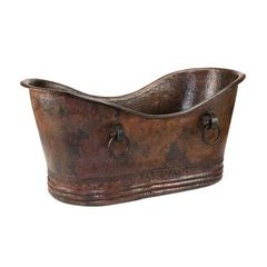 67 Inch Copper Double Slipper Bathtub With Rings - Oil Rubbed Bronze