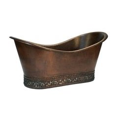 67 Inch Copper Double Slipper Bathtub with Scroll Base and Nickel Inlay-Bronze