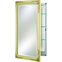 """Basix Plus 16"""" Mirrored Medicine Cabinet - Antique Biscuit"""