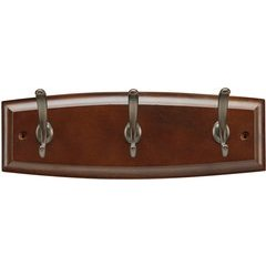 12 Inch Wood Hook Rail - Cherry Stain with Refined Bronze