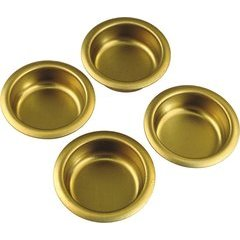 Builders Hardware 1 Inch Diameter Finger Polished Brass Cabinet Pull - Pack of 4