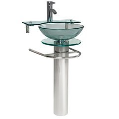 "Ovale 24"" Modern Glass Bathroom Pedestal"