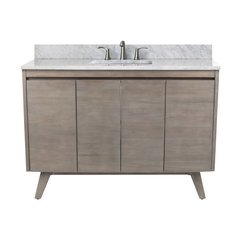 49 Inch Coventry Vanity Combo - Gray Teak with Carrera White Marble Top