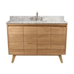 49 Inch Coventry Vanity Combo - Natural Teak with Carrera White Marble Top