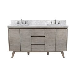 61 Inch Coventry Vanity Combo - Gray Teak with Carrera White Marble Top