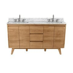 61 Inch Coventry Vanity Combo - Natural Teak with Carrera White Marble Top