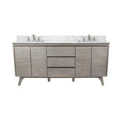 73 Inch Coventry Vanity Combo - Gray Teak with Carrera White Marble Top