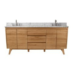 73 Inch Coventry Vanity Combo - Natural Teak with Carrera White Marble Top