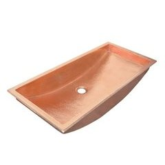 30x14 Inch Trough Rectanglular Universal Mount Bathroom Sink - Polished Copper