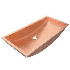 48x14 Inch Trough Rectangular Universal Mount Bathroom Sink - Polished Copper