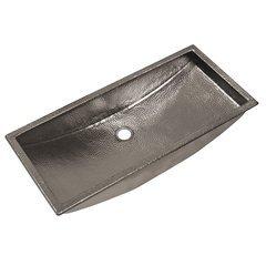 30x14 Inch Trough Rectangular Universal Mount Bathroom Sink - Polished Nickel