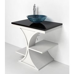 30 Inch Cruz Vanity & Granite Vessel Top - White / Black Top