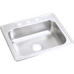 Dayton 25 Inch Single Bowl Sink 3 Faucet Holes - Satin