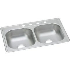 Dayton 33 Inch Equal Double Bowl Drop-in Sink - Satin