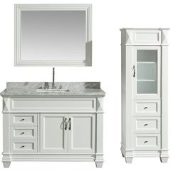 48 Inch Hudson Single Sink Vanity Set with 65 Inch Linen Tower Cabinet - White