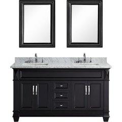 61 Inch Hudson Double Sink Vanity Set - Espresso