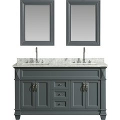 61 Inch Hudson Double Sink Vanity Set with 65 Inch Linen Tower Cabinet - Gray