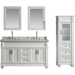 60 Inch Hudson Double Sink Vanity Set with 65 Inch Linen Tower Cabinet - White