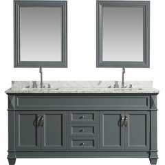 72 Inch Hudson Double Sink Vanity Set with Mirror - Gray