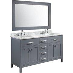 61 Inch London Double Oval Sink Vanity Set - Gray