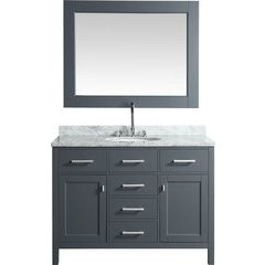 "48"" London Single Sink Bathroom Vanity w/ White Top - Gray"