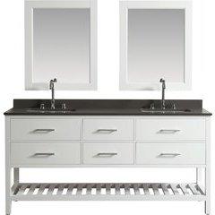 72 Inch London Double Sink Vanity Set - White