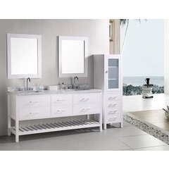 72 Inch London Double Sink Vanity Set with 60 Inch Linen Cabinet - Expresso