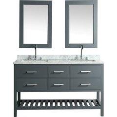 "61"" London Double Sink Bathroom Vanity w/ White Top - Gray"