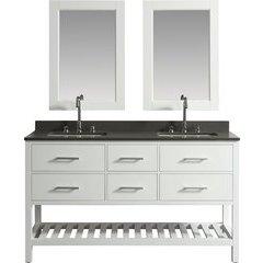 61 Inch London Double Sink Vanity Set - White