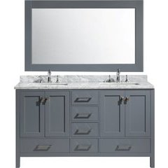 61 Inch London Double Rectangular Sink Vanity Set - Gray