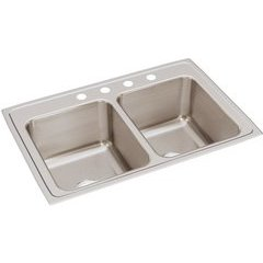 Lustertone Classic 22 Equal Double Bowl Drop-in Sink - Lustrous Satin