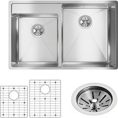 Crosstown 21 Offset Double Bowl Undermount Sink Kit - Polished Satin