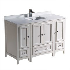 "Oxford 48"" Antique White Traditional Bathroom Cabinets w/ Top & Sink"