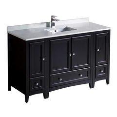 "Oxford 54"" Espresso Traditional Bathroom Cabinets w/ Top & Sink"
