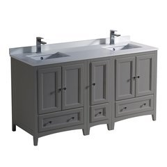 """Oxford 60"""" Gray Double Sink Bathroom Cabinets w/ Top & Sinks"""